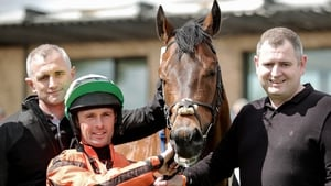 Rory Cleary with Hathiq after winning The Curragh