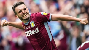 John McGinn celebrates his crucial goal for Aston Villa