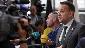 Leo Varadkar speaking to the media in Brussels