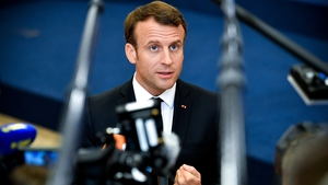 Emmmanuel Macron pictured arriving for the summit in Brussels