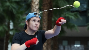 Katie Taylor during her public workout on Tuesday