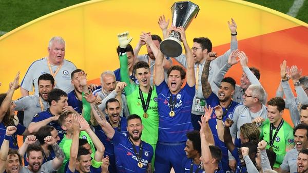 Chelsea players celebrate victory in Baku