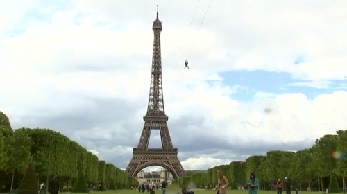 Eiffel Tower becomes launch pad for zip-line attraction