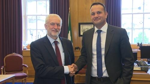Taoiseach Leo Varadkar and British Labour Party leader Jeremy Corbyn