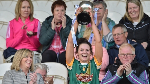 Meath captain Maire O'Shaughnessy lifts the cup after the Lidl Ladies NFL Division 3 final between Meath and Sligo