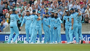 England celebrate after Ben Stokes catches out Andile Phehlukwayo from Adil Rashid bowling