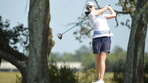 Leona Maguire at the tee box during her opening round of the US WOmen's Open