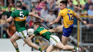 Clare's Jamie Malone's shot is blocked by Gavin White of Kerry during last year's Munster semi-final