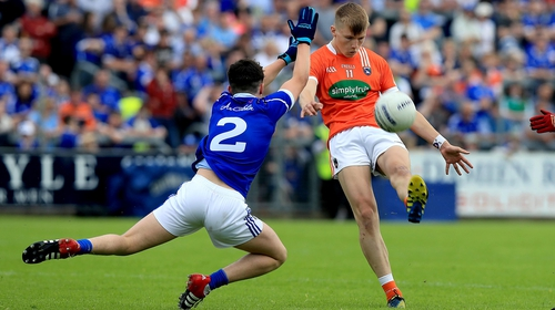 Rian O'Neill of Armagh with Patrick O'Reilly of Cavan in action from the 2016 quarter-final encounter