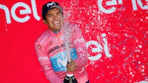 Team Movistar rider Ecuador's Richard Carapaz