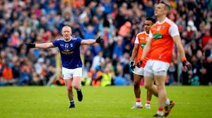 Cavan's Cian Mackey celebrates his equaliser against Armagh
