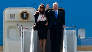 Melania and Donald Trump landed at Stansted Airport at the start of their three-day visit