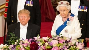 Donald Trump and Britain's Queen Elizabeth II pictured at Buckingham Palace on June 3
