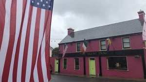 Star spangled banner and bunting are a fixture around the village of Doonbeg this week