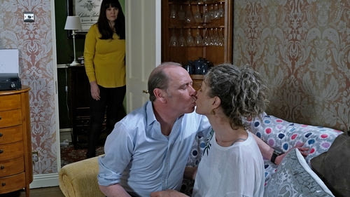 Heather devastated to see Hughie and Jackie in an embrace on Fair City