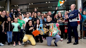 Katie Taylor at Dublin Airport today