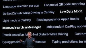 Apple's Senior Vice-President of Software Engineering, Craig Federighi, speaks during the keynote address