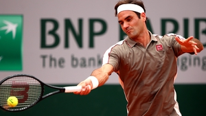 Roger Federer in action at the 2019 French Open