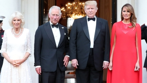 The Prince of Wales and the Duchess of Cornwall are greeted by Donald and Melania Trump ahead of a dinner at the US Ambassador to the UK's residence in Regent's Park