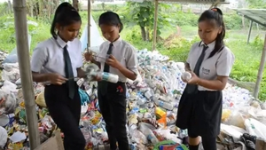 Students help to repurpose the waste plastic