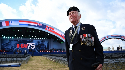 Eugeniusz Nead, 94, from the Polish army arrives at commemoration grounds in Southsea Common