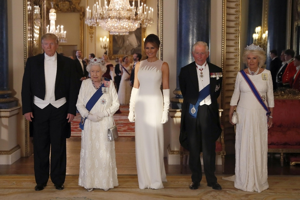 Trump, Queen Elizabeth II, Melania Trump, the Prince of Wales and the Duchess of Cornwall, during a group photo ahead of the State Banquet at Buckingham Palace, London, on day one of US President Donald Trump's three day state visit to the UK