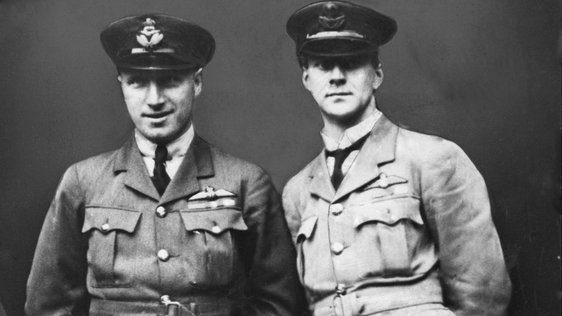 Captain John William Alcock (left) and Lieut Arthur Whitten-Brown (right). Picture taken circa 1st June 1919. (Photo by Manchester Evening News Archive/Mirrorpix/Getty Images)