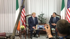 President Trump and Taoiseach Leo Varadkar at a press conference in Shannon airport