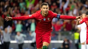 Ronaldo celebrates his third goal against Switzerland