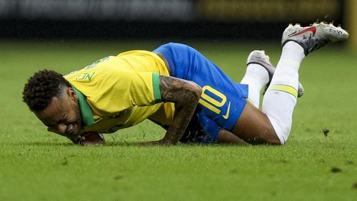 Neymar suffered the injury in a friendly against Qatar at Mane Garrincha Stadium