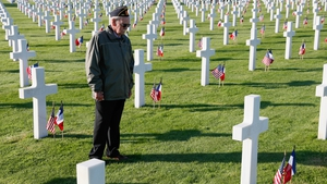 US Veteran Kirt Robbins pays his respects at the American Cemetery in Colleville-sur-Mer