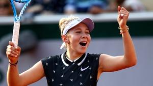 Anna Anisimova celebrates her victory