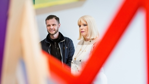"Minister of State for Higher Education Mary Mitchell O'Connor T.D. with Fine Art student Dariusz Grobelny discussing his sculpture ""Line in Space"" at the launch of IT Sligo's new Yeats Academy of Arts, Design & Architecture."