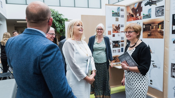 Minister of State for Higher Education Mary Mitchell O'Connor T.D. with Interior Architecture Lecturer, Rowan Watson and Head of Faculty of Eng & Design, Una Parsons.