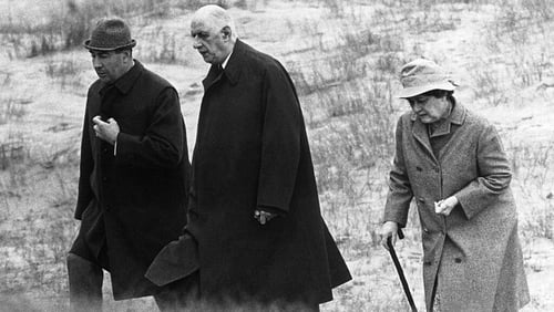 Charles de Gaulle walking with his wife Yvonne near Sneem in May 1969