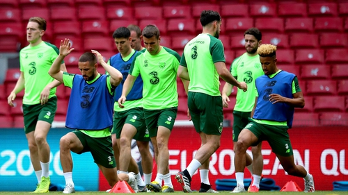 Ireland players go through their paces at the Parken Stadium