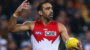 Adam Goodes in action for the Sydney Swans