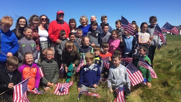 Pupils from Clohanes NS met President Trump on the ninth hole (Photo, Abbi Shanahan)