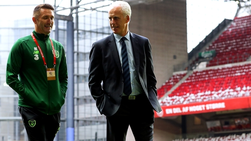 Ireland manager Mick McCarthy and coach Robbie Keane take a ramble on the pitch ahead of this evening's game