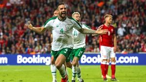 The Ireland centre-half celebrates his equaliser