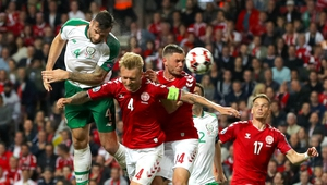 Shane Duffy heads home the leveller against Denmark