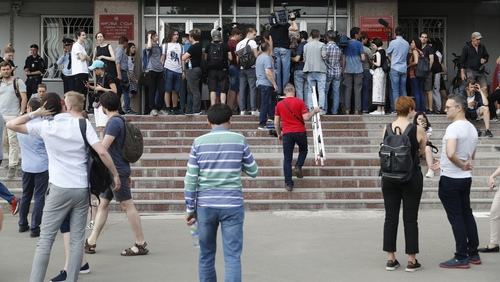 Supporters of Ivan Golunov gathered near Nikulinsky court for his pre-trial hearing in Moscow on Saturday