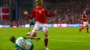 Alan Judge got injured in the final minutes of the 1-1 draw with Denmark