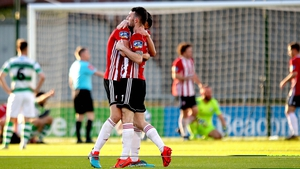 Eoin Toal and Jamie McDonagh celebrate as Derry grab a late equaliser