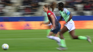 Caroline Graham Hansen speeds away from Asisat Oshoala