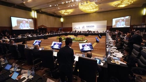 Participants attend prior to a G20 meeting in Fukuoka, Japan