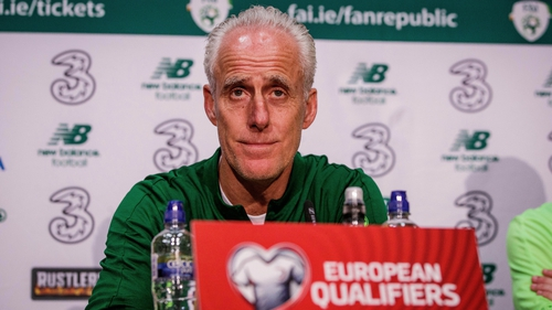 Mick McCarthy speaking at the pre-match press conference in Dublin today