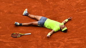 Rafael Nadal moments after clinching the French Open title once again