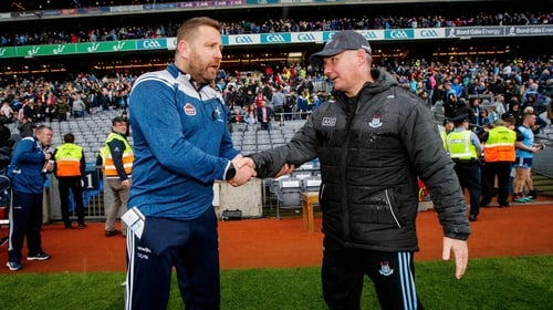 Jim Gavin and Cian O'Neill shake hands at full-time