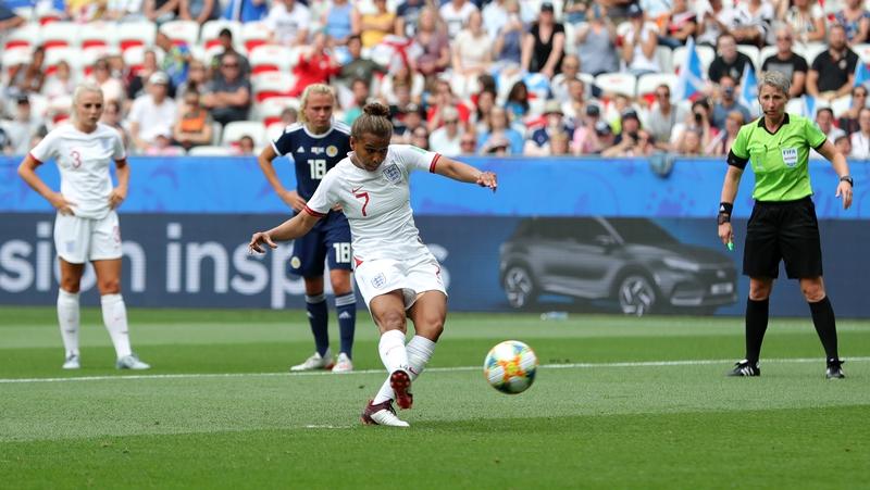 Nikita Parris opens the scoring for England